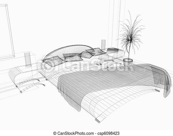 Rendre, style, moderne, 3d, chambre à coucher.
