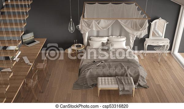 Chambre à Coucher, Gris, Classique, Grand Sommet, Minimalistic, Lit,  Scandinave