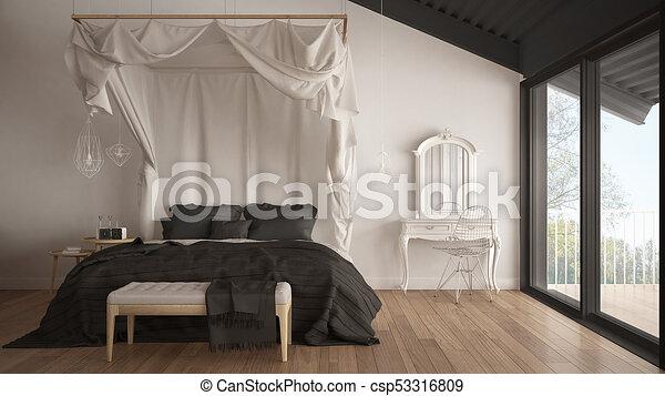 chambre à coucher, gris, classique, grand, minimalistic, lit, scandinave,  conception, fenêtre, intérieur, baldaquin, blanc