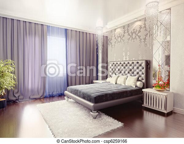 moderne 3d rendering luxe chambre coucher int rieur illustration de stock rechercher. Black Bedroom Furniture Sets. Home Design Ideas