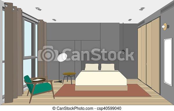 Chambre à coucher, perspective, vue. Salle, couleur, lit, vecteur ...