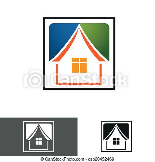chambre maison, logo, icône - csp20452469