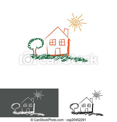 chambre maison, logo, icône - csp20452291