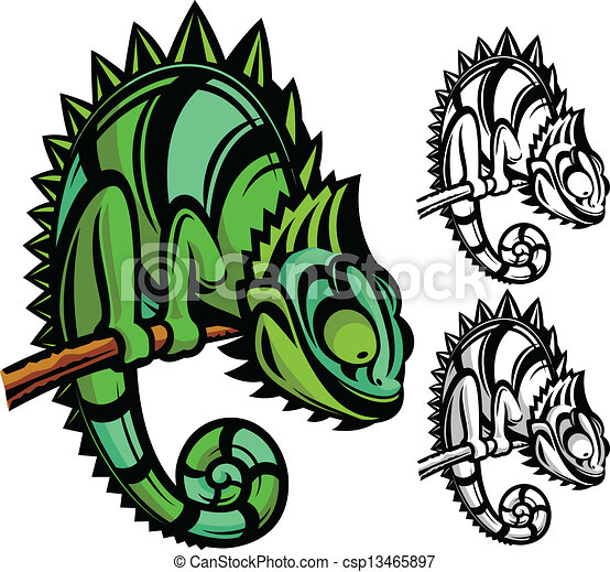 Chameleon cartoon character - csp13465897