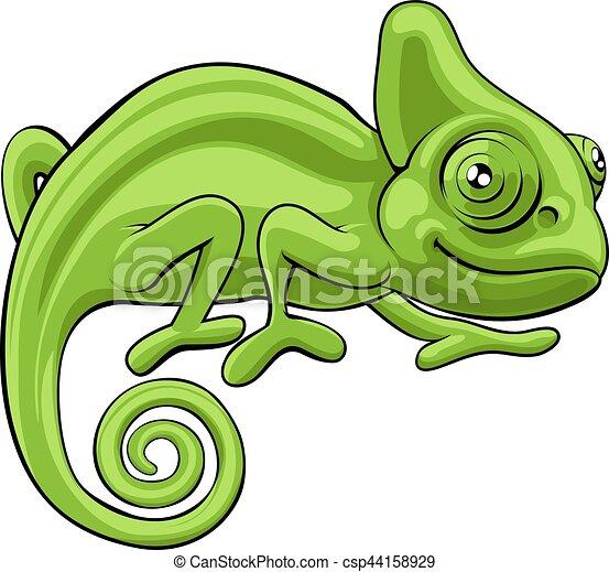 Chameleon Cartoon Character - csp44158929