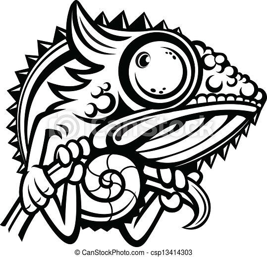 Chameleon cartoon character outline - csp13414303
