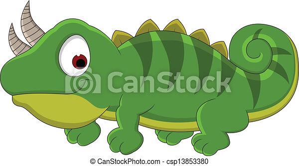 Chameleon cartoon - csp13853380