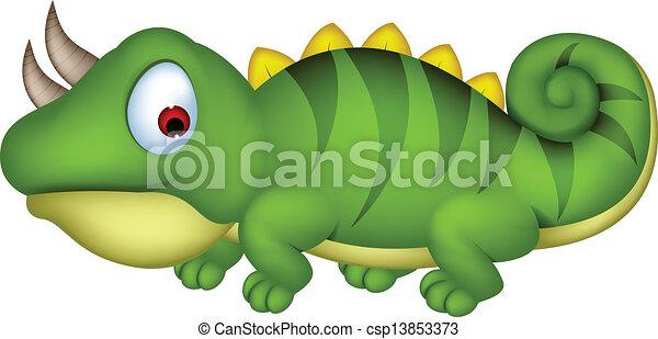 Chameleon cartoon - csp13853373