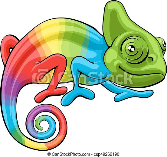 Chameleon Cartoon Rainbow Character - csp49262190