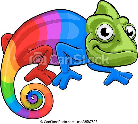 Chameleon Cartoon Rainbow Mascot - csp38587807
