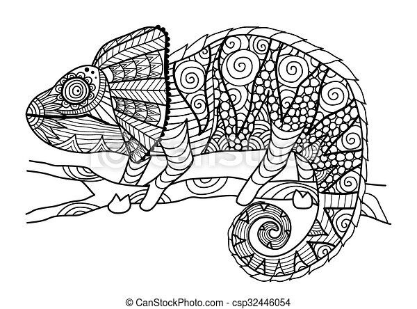Chameleon Coloring Book Hand Drawn Zentangle Style For