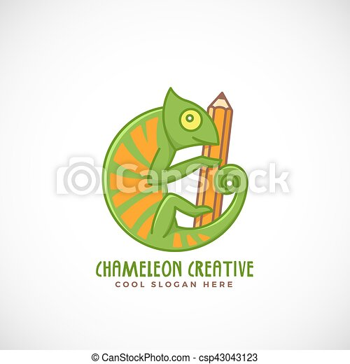 Chameleon creative. abstract vector line style sign, emblem or logo ...