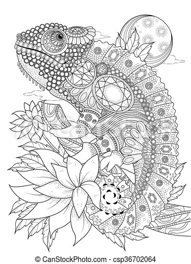 chameleonb, coloritura, adulto, pagina - csp36702064