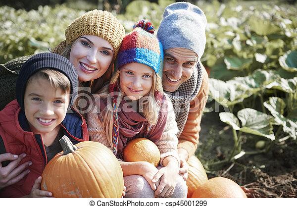 champ, citrouille, portrait famille - csp45001299