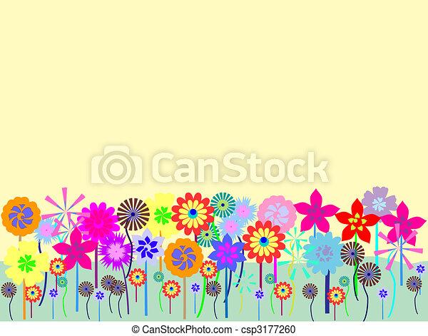 Champ Fleur Colours Pre Floraison Vecteur Stylise Dessin