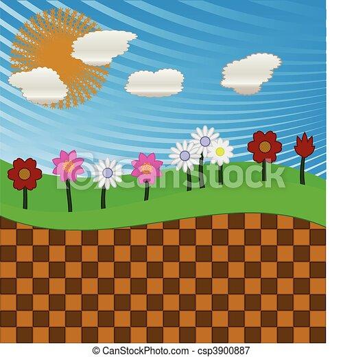 Champ Fleur Ete Fleurs Dessin Champ
