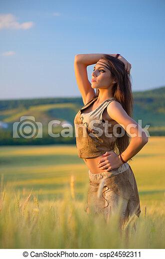 champ, girl, blé, jeune - csp24592311