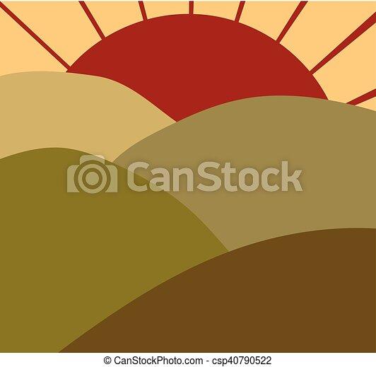 champ, levers de soleil - csp40790522
