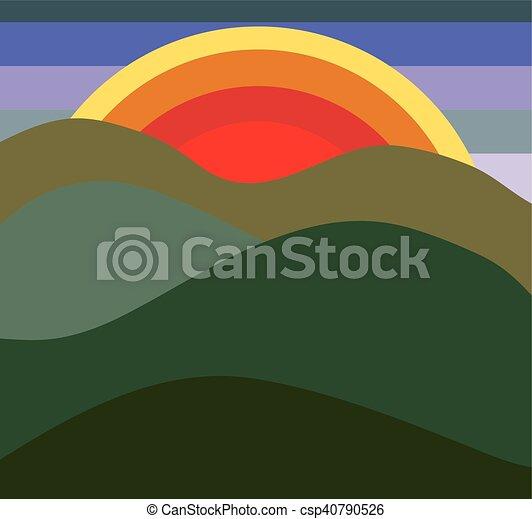 champ, levers de soleil - csp40790526