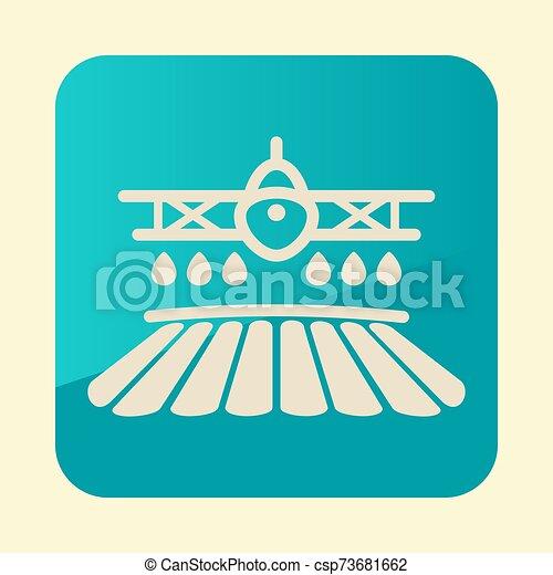 champ, pulvérisation, icône, récolte, avion, chiffon, ferme - csp73681662