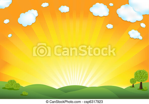 champ, vert, levers de soleil, ciel - csp6317923