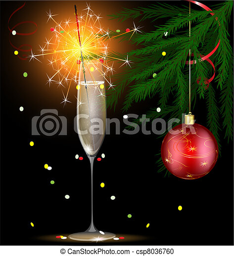 champagne and Christmas sparkler - csp8036760