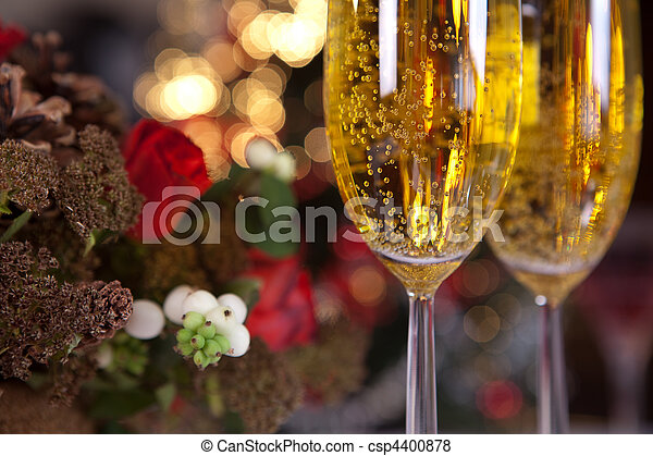 Champagne and christmas tree 1 - csp4400878