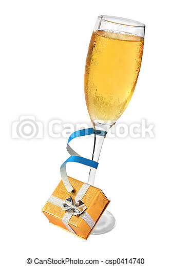 Champagne and gift - csp0414740
