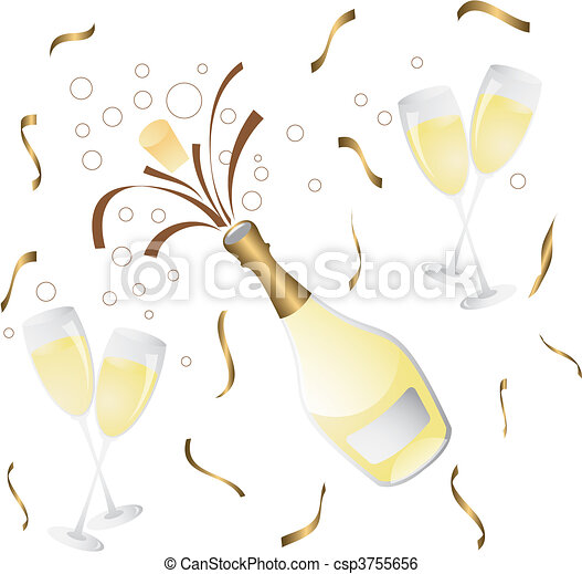 champagne bottle and glass  - csp3755656