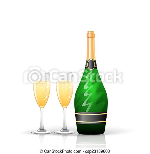 Champagne bottle and glasses - csp23139600