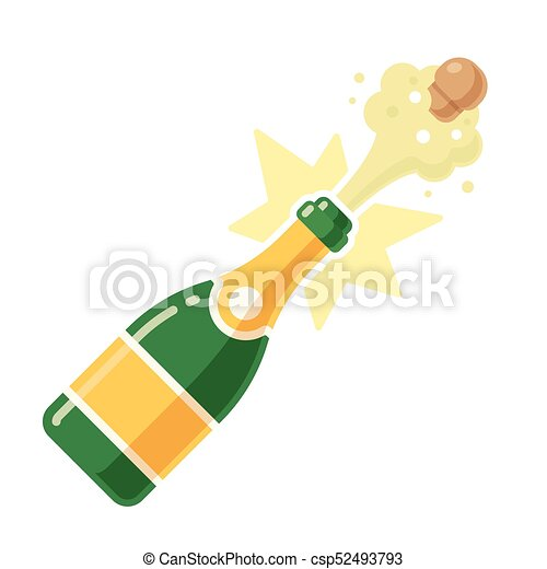 Champagne bottle pop thin line icon Royalty Free Vector