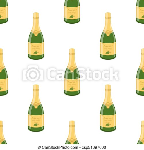 Champagne bottle seamless pattern. Cartoon flat style. Vector illustration - csp51097000