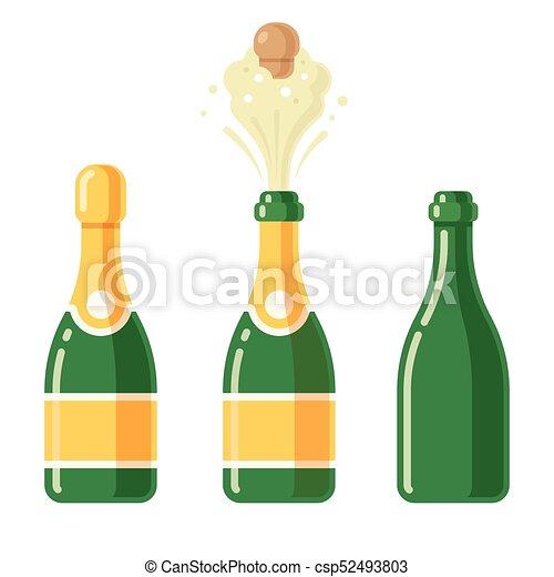 champagne bottle set champagne bottles cartoon icon set vector rh canstockphoto com  champagne bottle popping clip art