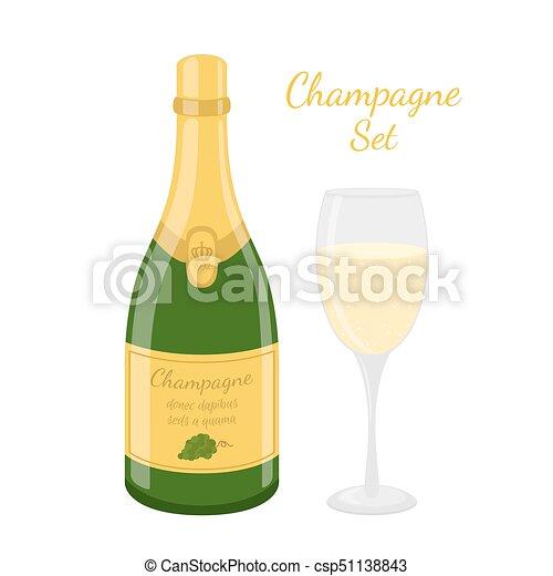 Champagne bottle, wine glass. Cartoon flat style. Vector illustration - csp51138843