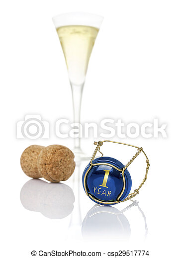 Champagne cap with the inscription 1 year - csp29517774