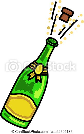 Bouteille De Champagne Dessin champagne, carto, sauter, célébration. illustration, bouchon, sauter