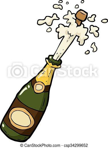 Bouteille De Champagne Dessin champagne, coup, bouteille. coup, griffonnage, illustration, vecteur