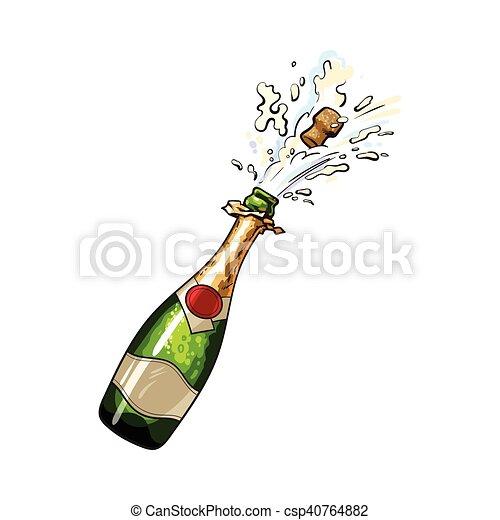 Bouteille De Champagne Dessin champagne, dehors, sauter, bouteille, bouchon. croquis, vecteur