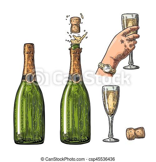 champagne explosion main verre bouteille prise toile vecteurs search clip art. Black Bedroom Furniture Sets. Home Design Ideas