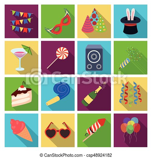 Champagne Firecrackers Cake Items For The Holidayparty And Parties Set Collection Icons In Flat