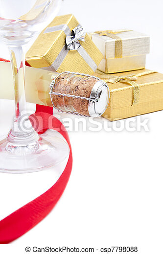 champagne for the celebration of Christmas - csp7798088