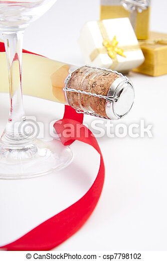 champagne for the celebration of Christmas - csp7798102