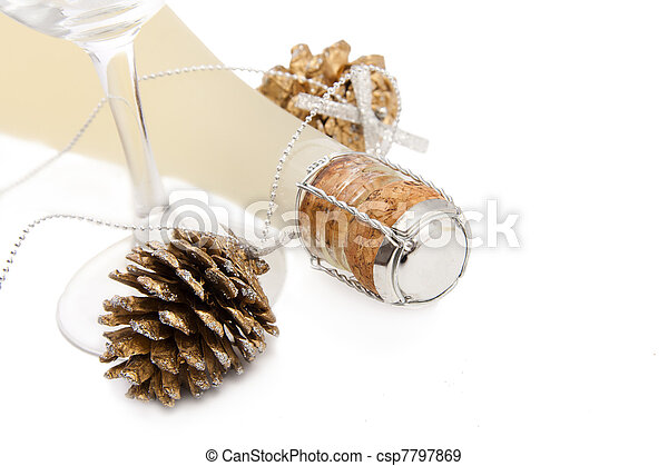 champagne for the celebration of Christmas - csp7797869