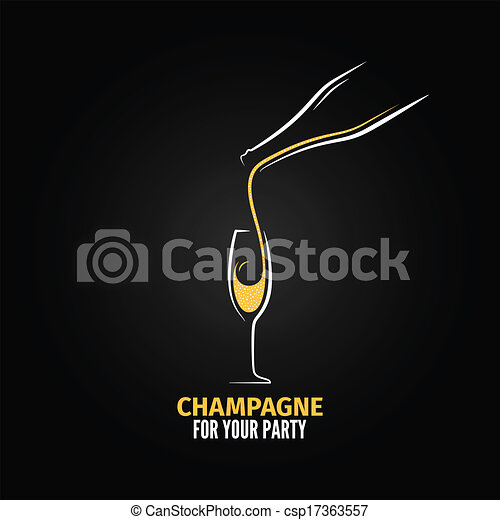 champagne glass bottle design background - csp17363557