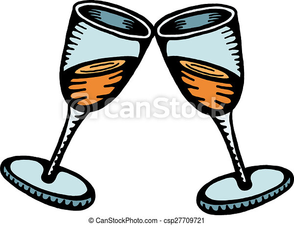 a hand drawn doodle drawing of two toasting champagne clip art rh canstockphoto com clip art champagne glasses clip art champagne glass here's to you