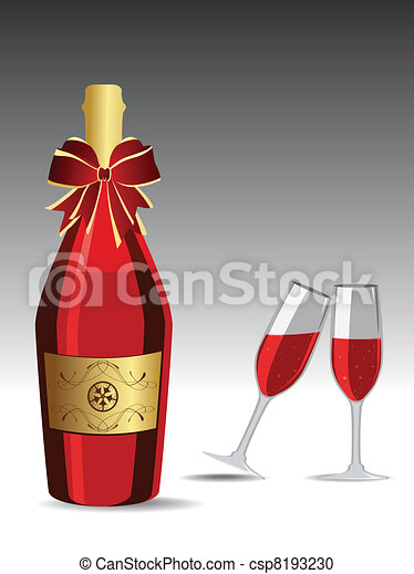 vector champagne glasses for new year celebration csp8193230