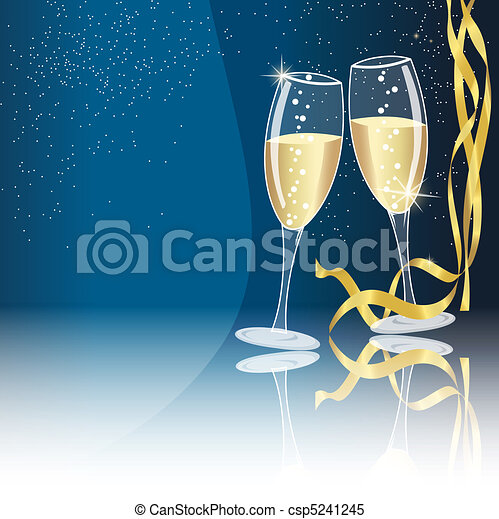 Champagne glasses on blue - csp5241245