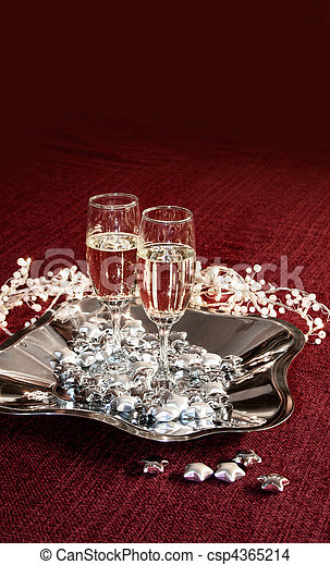 Champagne glasses on red - csp4365214