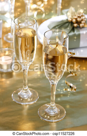 Champagne glasses on the dinner table - csp11527226