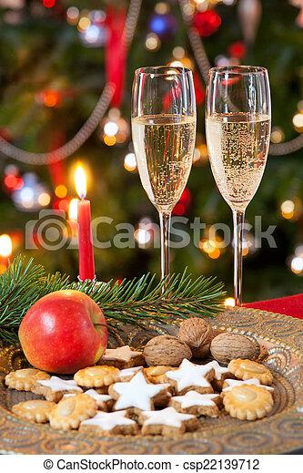 champagne., kerstmis, samenstelling - csp22139712
